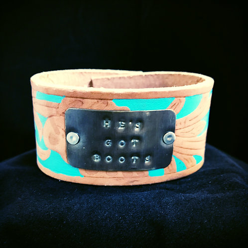 Turquoise Painted Leather Bracelet