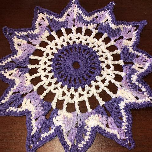 Handmade Light Purple/White /Dark Purple Doilie