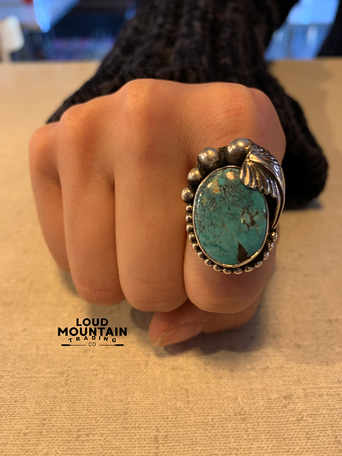 Turquoise Ring Wrapped in Sterling Silver - Size 5.5
