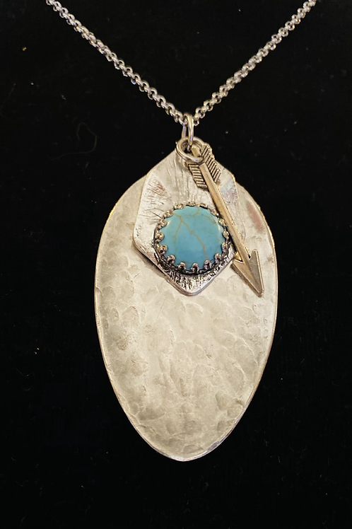 """22"""" Vintage Silverware Necklace With Turquoise Stone And Arrow Charm"""