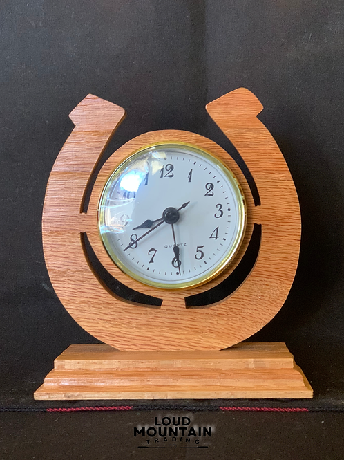 Handmade Wooden Horseshoe Clock