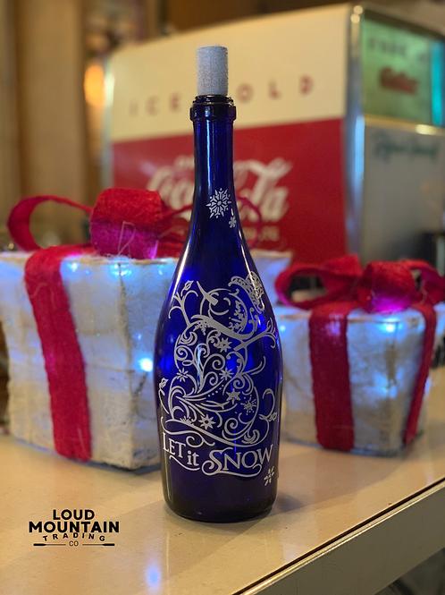 Cordless Bottle Lamp- Let It Snow (Blue)