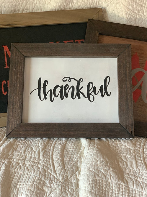 "Wooden Sign ""Thankful"""