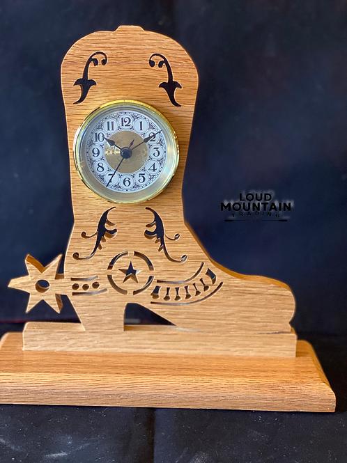 Handmade Wooden Cowboy Boot Clock