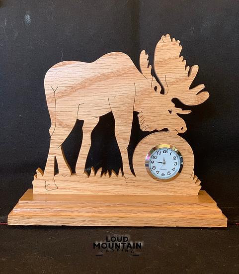 Handcrafted Wooden Moose Clock