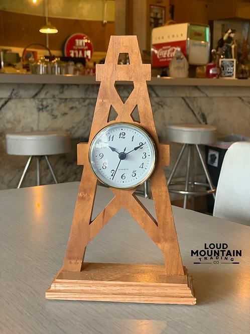 Handcrafted Wooden Oil Derrick Clock