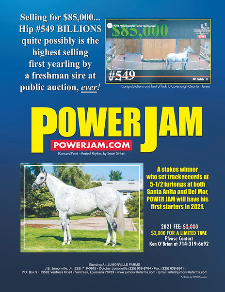 Power Jam - HP Yearling Sale Billions ad