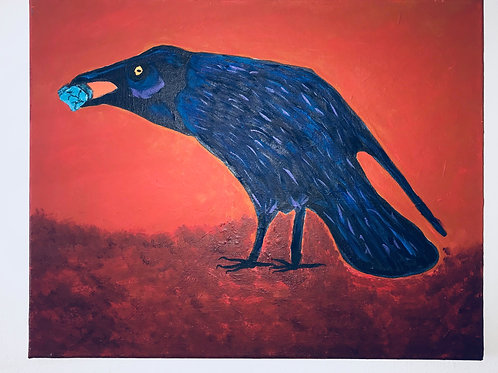 Acrylic Painted Crow On Canvas