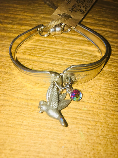 Silver Silverware Bracelet With Two Birds