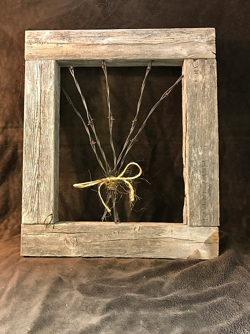 Wooden Frame With Barb Wire Flowers