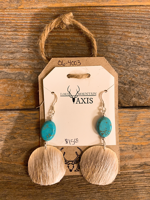 Axis Hide Earrings w/ Turquoise Beads