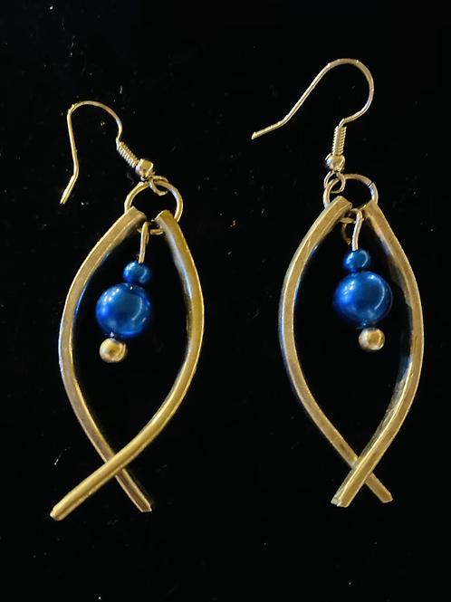 Vintage Silverware Earrings With Two Blue Stones