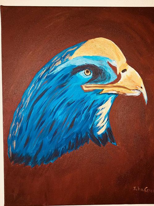Acrylic Painted Eagle On Canvas