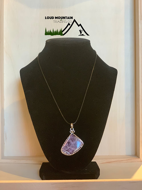 Russian Purple Charioteer Wrapped In Sterling Silver Pendant