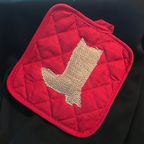 Red Potholder With Burlap Boot