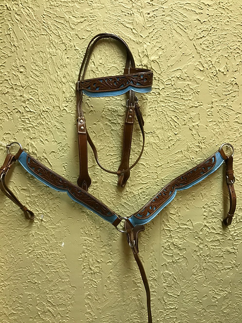Headstall & Breast Collar Set-Light Blue