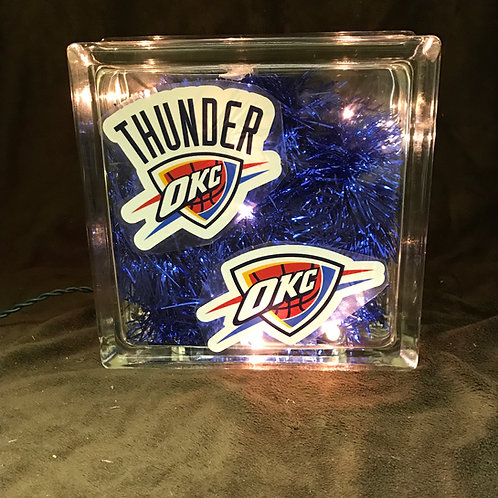 Oklahoma City Thunder Glass Block Lamp