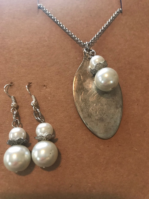 Vintage Silverware Necklace And Earring Set With Stacked Pearl Beads