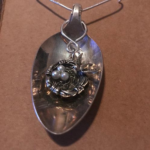 Vintage Silverware Spoon Necklace With Birds Nest