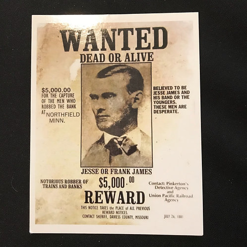 Jesse James Wanted Sign Postcard