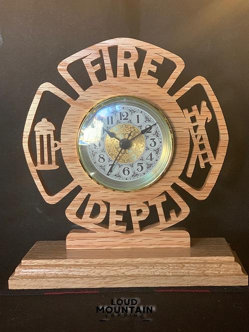 Handmade Wooden Fire Dept Clock