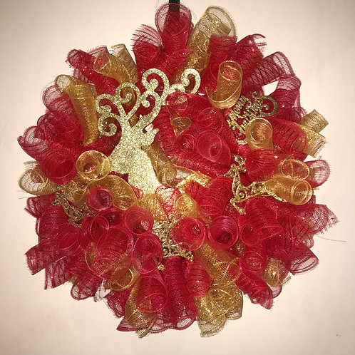 Red And Gold Christmas Wreath With Gold Deer Accents