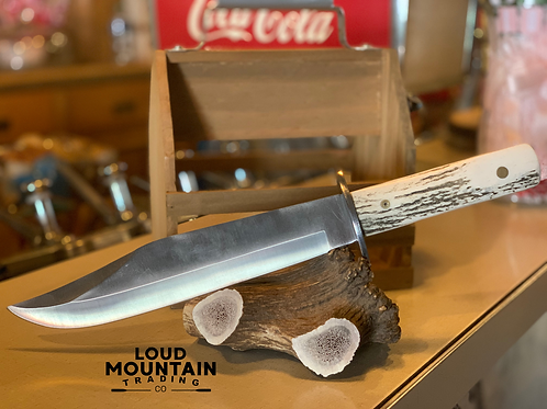 Crocodile Bowie Knife w/ Elk Antler Handle