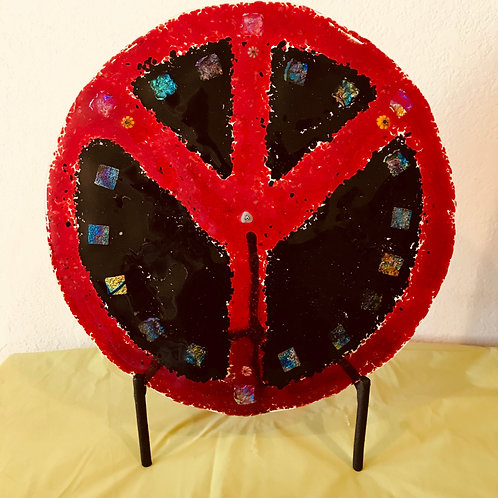 Peace Sign Fused Glass With Stand