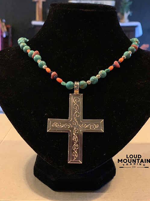 Sterling Silver Cross with Turquoise Beads