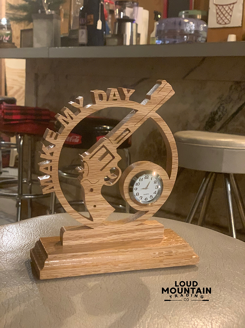Handcrafted Wooden Pistol Clock