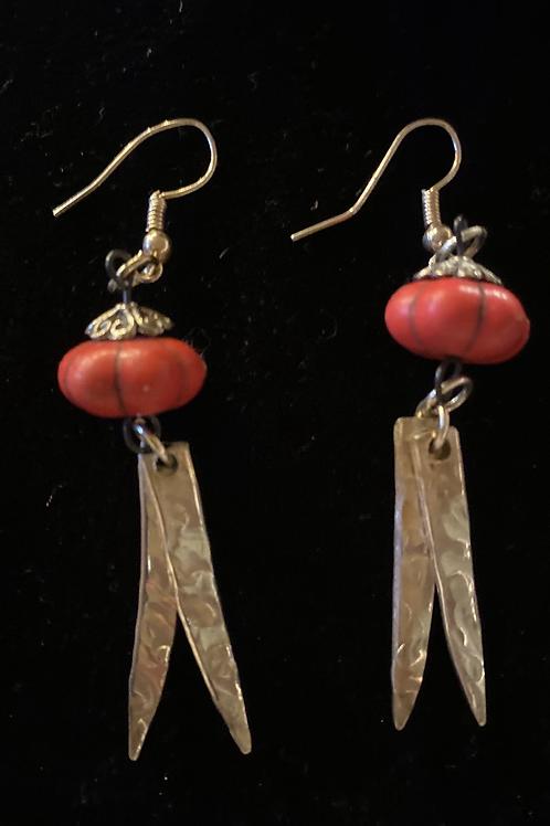 Vintage Silverware Earrings With Red Bead