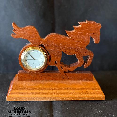 Handmade Wooden Running Horse Clock
