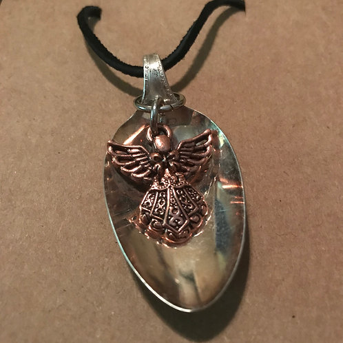 Vintage Silverware Spoon Necklace With Copper Angel On Black Leather Cord
