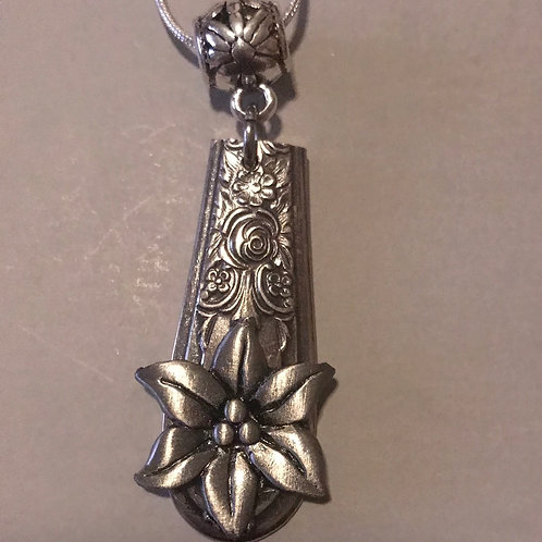 Vintage Silverware Pendant With Hibiscus Flower On Silver Chain Necklace