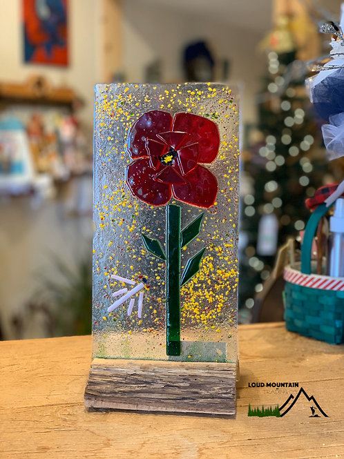 Fused Glass Red Flower with Wooden Stand