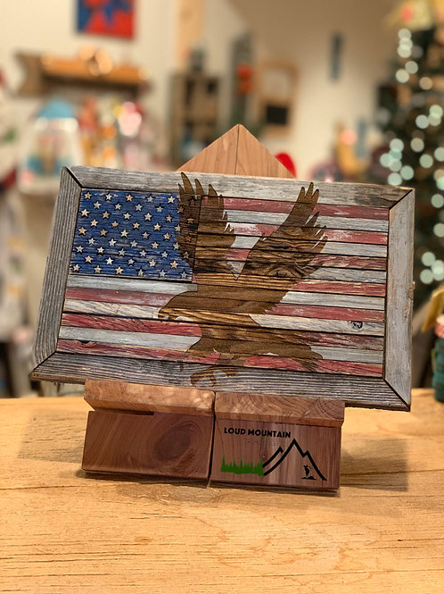 Wooden American Flag with Eagle Inlay