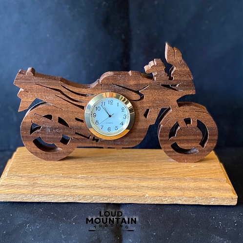 Handmade Wooden Motorcycle Clock
