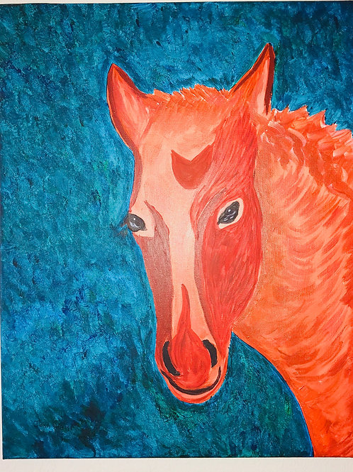 Acrylic Painted Red Horse On Canvas