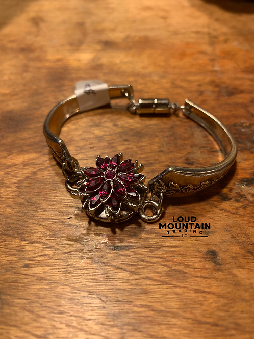 Vintage Silverware Bracelet w/ Pink Flower (L)
