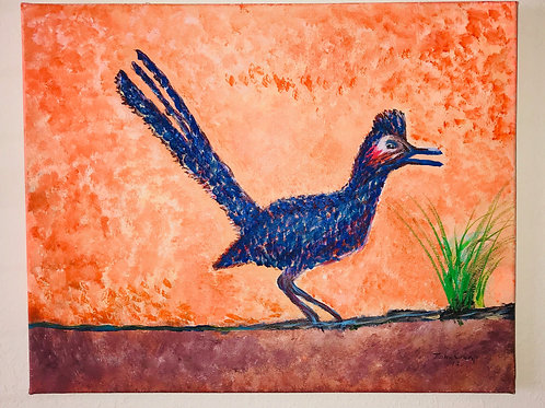 Acrylic Painted Roadrunner On Canvas