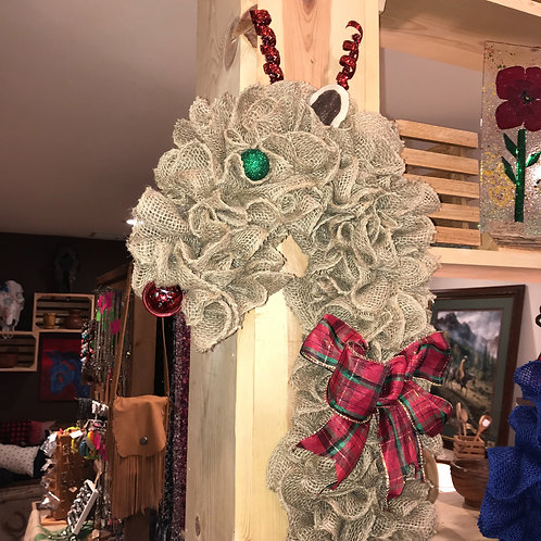 Brown Burlap Deer Wreath