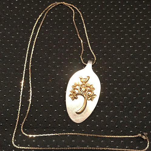 Vintage Silverware Spoon Necklace With Gold Bird Of Paradise Tree