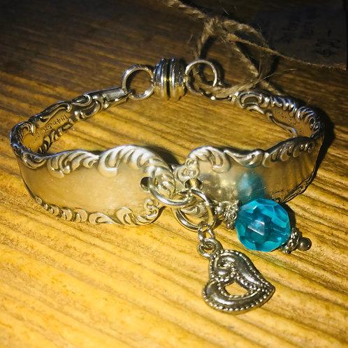 Vintage Silverware Bracelet With Aqua Bead & Heart Charm