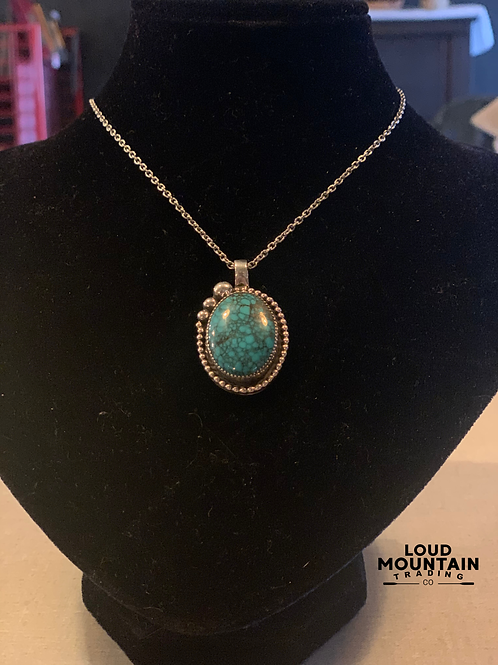 Turquoise Pendant w/ Sterling Silver Raindrops