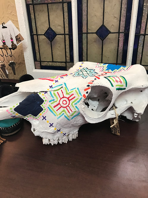 Hand painted Horse Skull Indian Art
