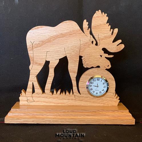 Handmade Wooden Moose Clock