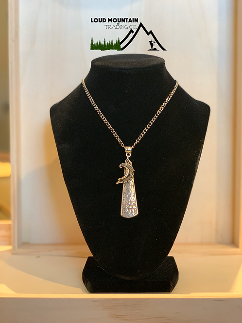Vintage Silverware Spoon Necklace With Moon Charm