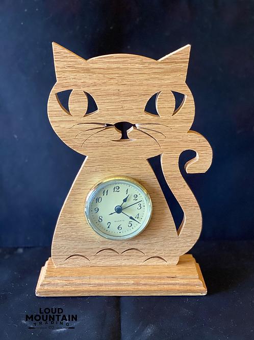 Handmade Wooden Cat Clock