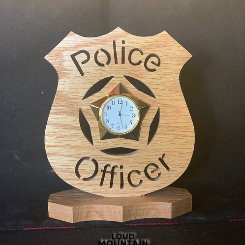 Handmade Wooden Police Officer Clock