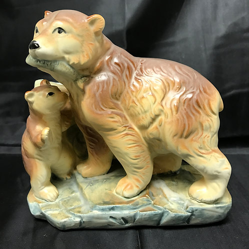 Bear Planter w/Fish & Cub